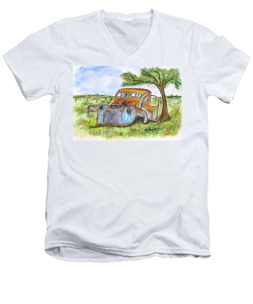Junk Car And Tree Men's V-Neck T-Shirt by Clyde J Kell