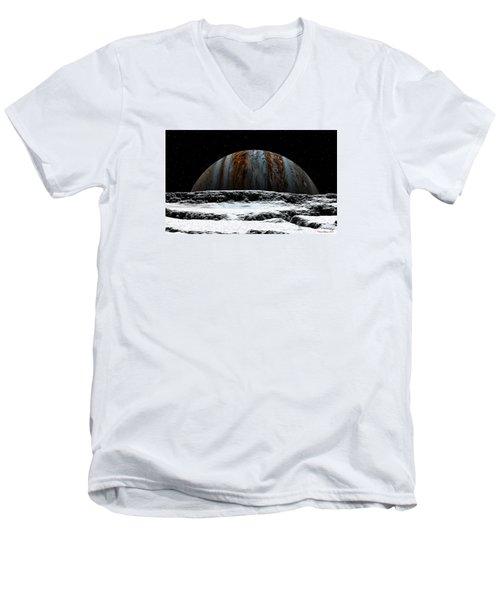Jupiter Rise At Europa Men's V-Neck T-Shirt