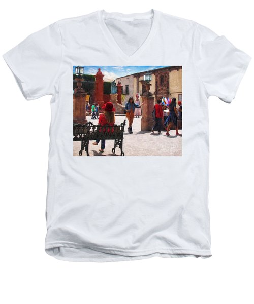 Men's V-Neck T-Shirt featuring the photograph Just Before The Wedding by John Kolenberg