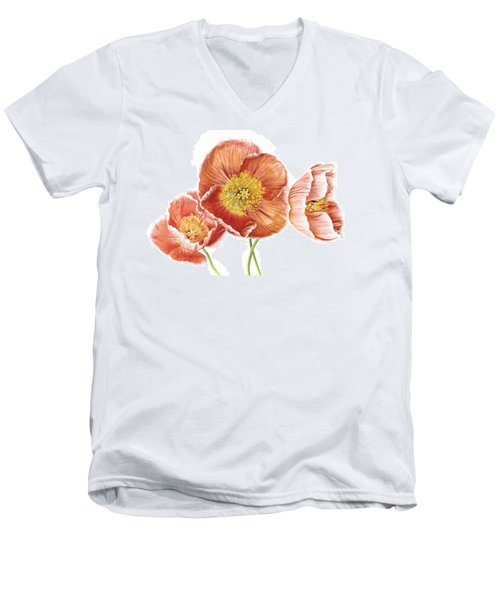 Just Peachy Poppies Men's V-Neck T-Shirt by David and Carol Kelly
