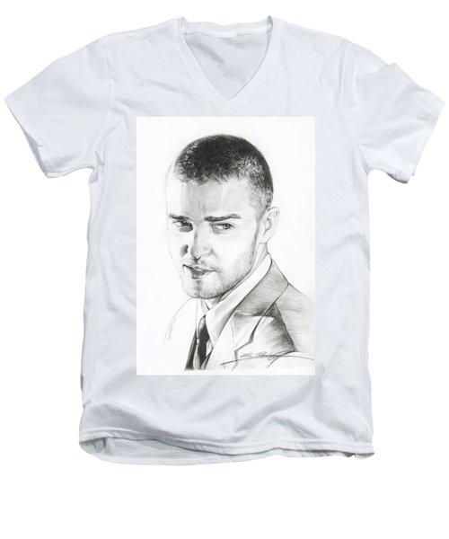 Justin Timberlake Drawing Men's V-Neck T-Shirt