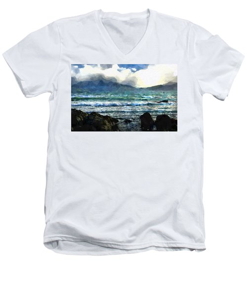 Kaikoura Seascape Men's V-Neck T-Shirt by Kai Saarto