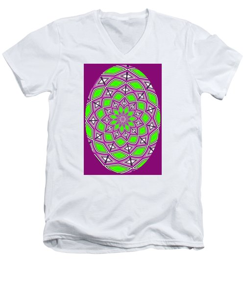 Kaleidoscopic Design Oval In Purple And Lime Green Men's V-Neck T-Shirt