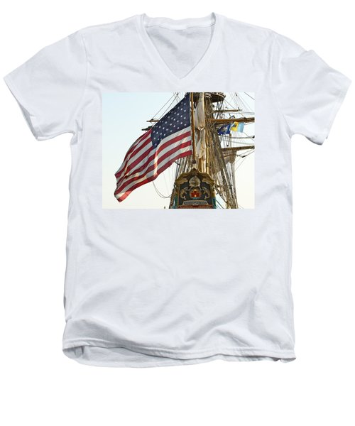 Kalmar Nyckel American Flag Men's V-Neck T-Shirt