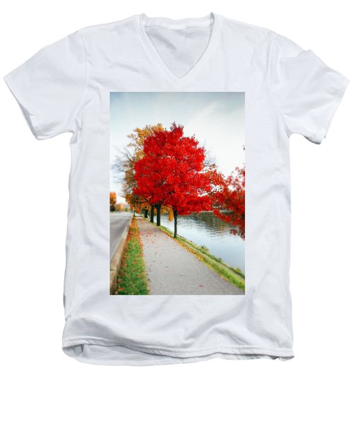 Kanawha Boulevard In Autumn Men's V-Neck T-Shirt by Shane Holsclaw