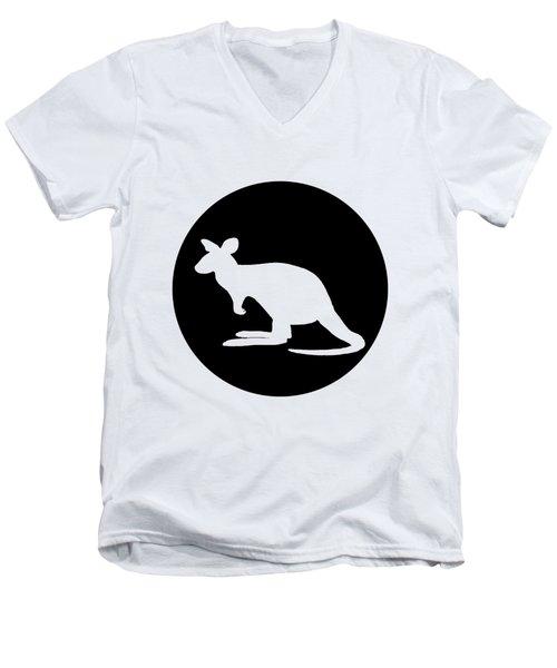 Kangaroo  Men's V-Neck T-Shirt by Mordax Furittus