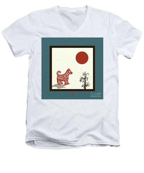 Kanji Dog On Blue Men's V-Neck T-Shirt