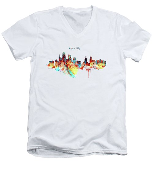 Kansas City Skyline Silhouette Men's V-Neck T-Shirt