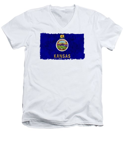 Kansas Flag Men's V-Neck T-Shirt by World Art Prints And Designs