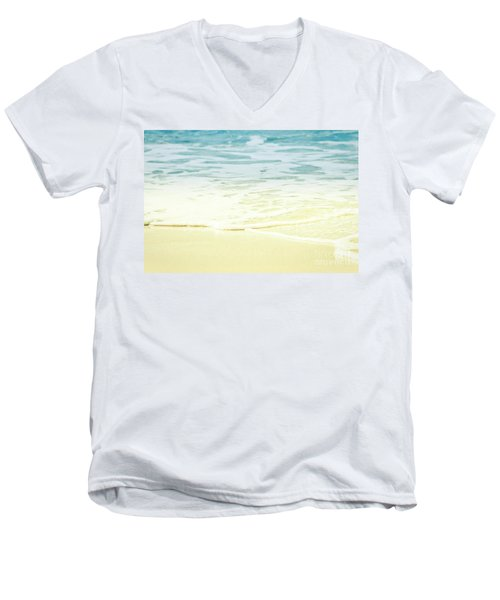 Kapalua Beach Dream Colours Sparkling Golden Sand Seafoam Maui Men's V-Neck T-Shirt by Sharon Mau