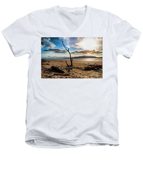 Kapiti Sunset Men's V-Neck T-Shirt by Karen Lewis