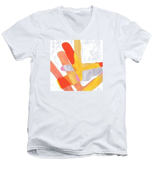Men's V-Neck T-Shirt featuring the painting Karlheinz Stockhausen Tribute Falling Shapes by Dick Sauer