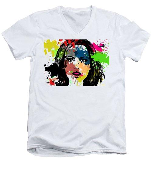 Kate Beckinsale Pop Art Men's V-Neck T-Shirt