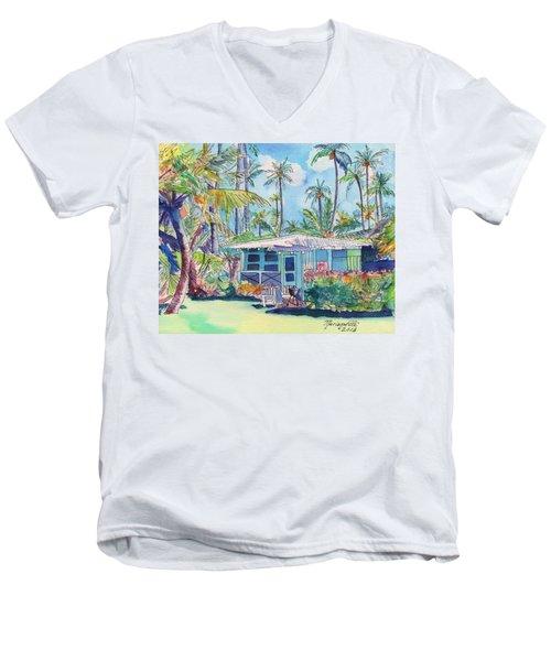 Kauai Blue Cottage 2 Men's V-Neck T-Shirt by Marionette Taboniar