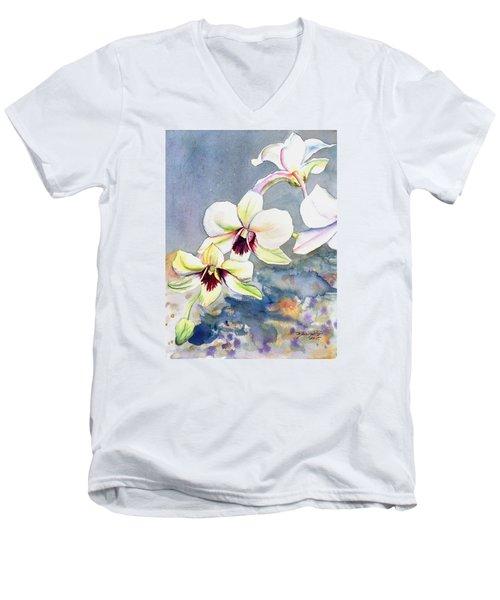Kauai Orchid Festival Men's V-Neck T-Shirt by Marionette Taboniar