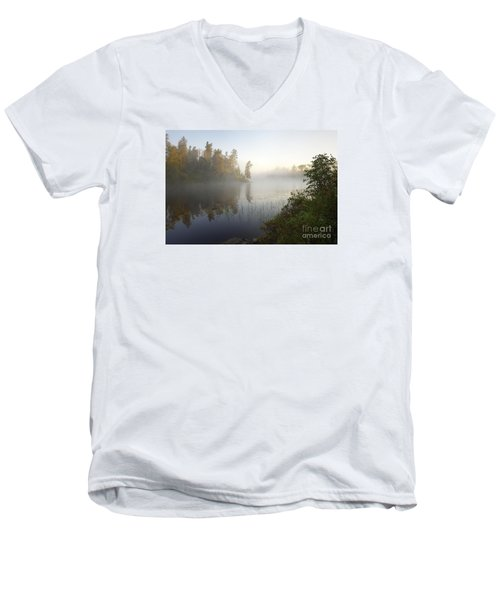 Men's V-Neck T-Shirt featuring the photograph Kawishiwi Morning Fog by Larry Ricker