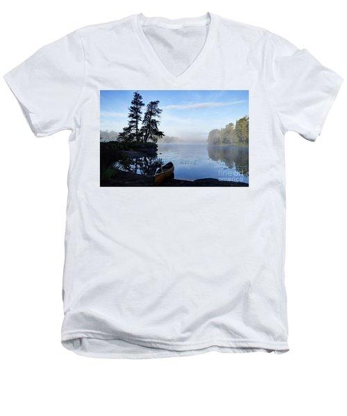 Kawishiwi Morning Men's V-Neck T-Shirt by Larry Ricker