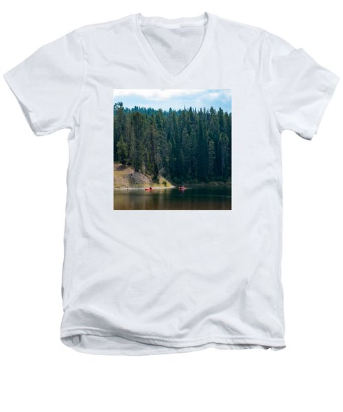Kayakers Men's V-Neck T-Shirt by Cathy Donohoue