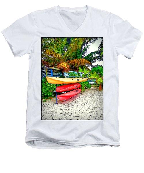 Kayaks In Paradise Men's V-Neck T-Shirt