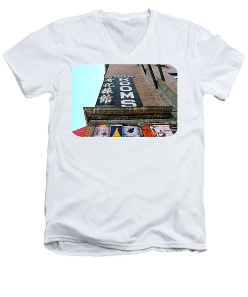 Men's V-Neck T-Shirt featuring the photograph Keefer Rooms by Ethna Gillespie