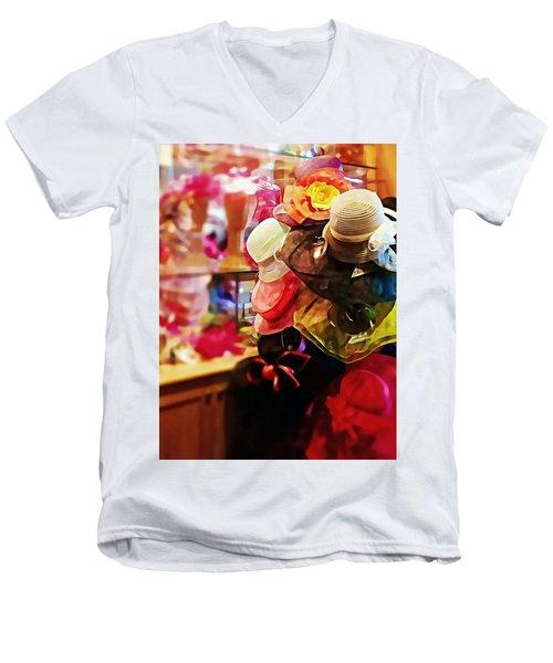 kentucky Derby Hats Men's V-Neck T-Shirt by Robin Regan