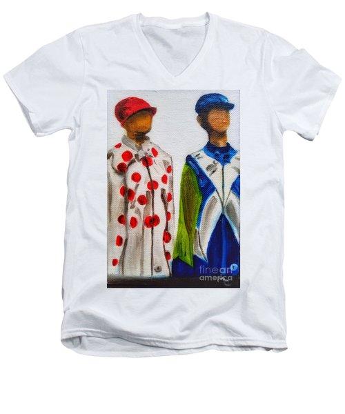 Kentucky Derby Jockey Mannequins Men's V-Neck T-Shirt