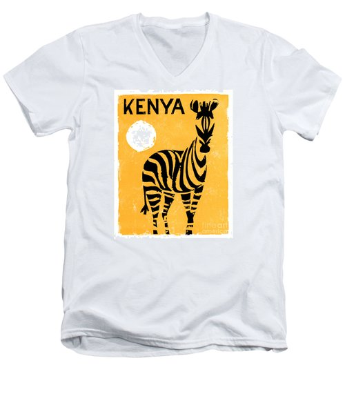 Kenya Africa Vintage Travel Poster Restored Men's V-Neck T-Shirt