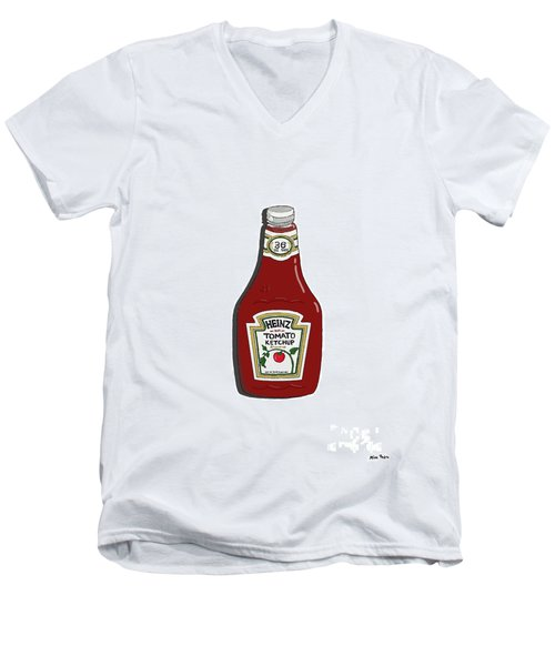 Ketchup Men's V-Neck T-Shirt by George Pedro