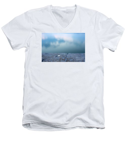 Men's V-Neck T-Shirt featuring the photograph Key On The Lake Shore by Odon Czintos