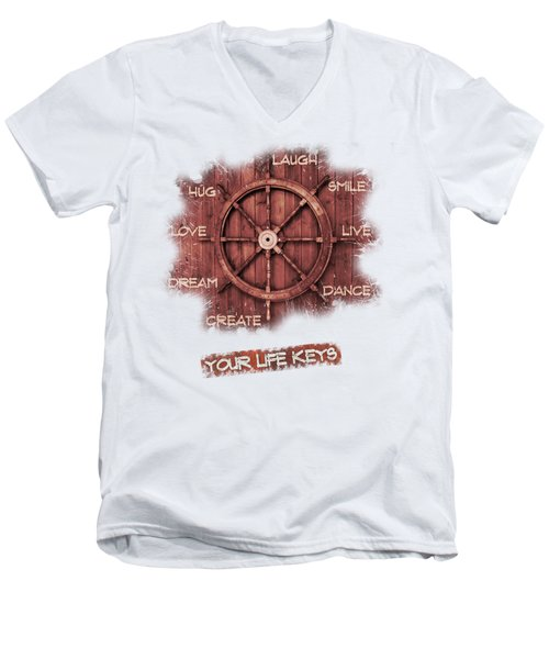 Keys To Happiness Typography On Wooden Helm Men's V-Neck T-Shirt