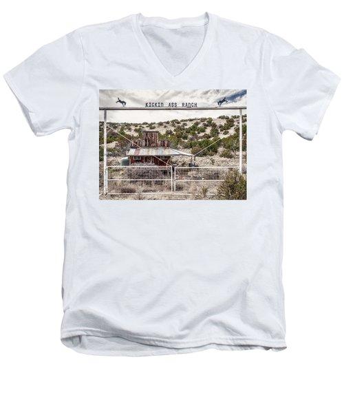 Kickin Ass Ranch Men's V-Neck T-Shirt by Robert FERD Frank