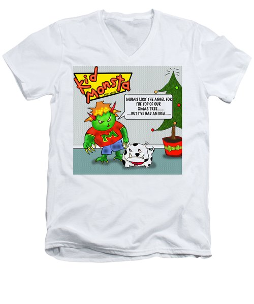 Kid Monsta Xmas 1 Men's V-Neck T-Shirt