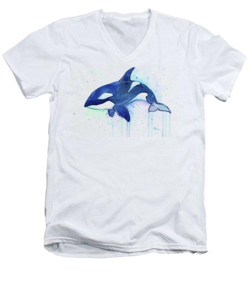 Kiler Whale Watercolor Orca  Men's V-Neck T-Shirt