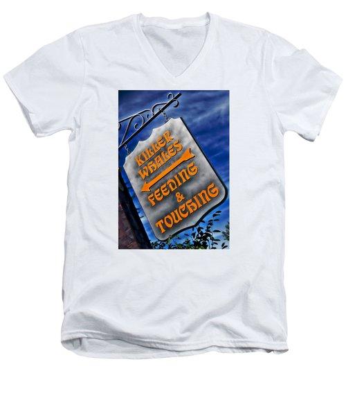 Killer Whales Sign Men's V-Neck T-Shirt by Bob Pardue