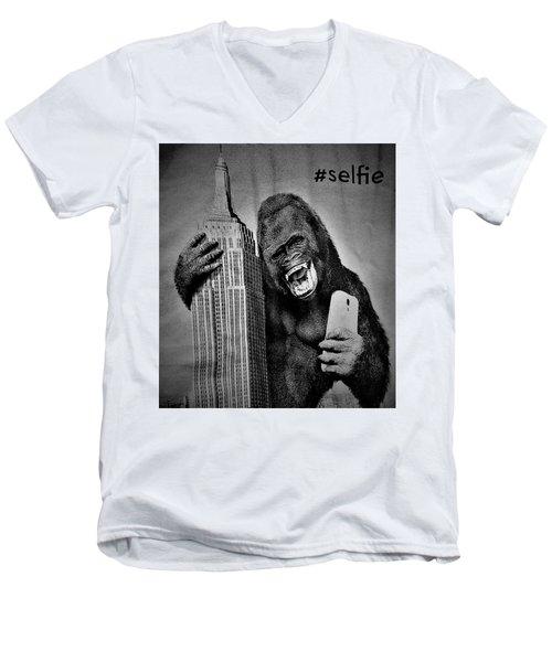 King Kong Selfie B W  Men's V-Neck T-Shirt