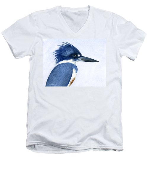 Kingfisher Portrait Men's V-Neck T-Shirt by Charles Harden