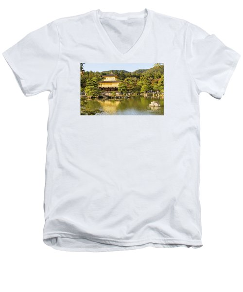 Men's V-Neck T-Shirt featuring the photograph Kinkakuji by Pravine Chester