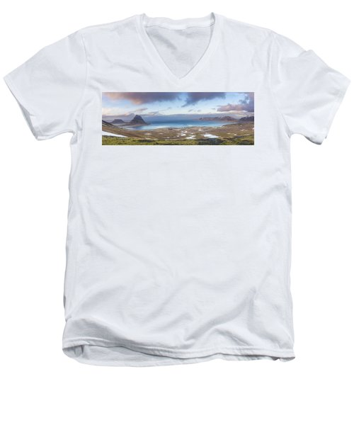 Kirkjufell And Grundarfjordur From On High Men's V-Neck T-Shirt