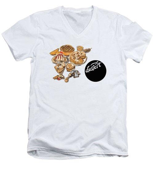 Kitchen Illustration Of Menu Of Desserts  Men's V-Neck T-Shirt