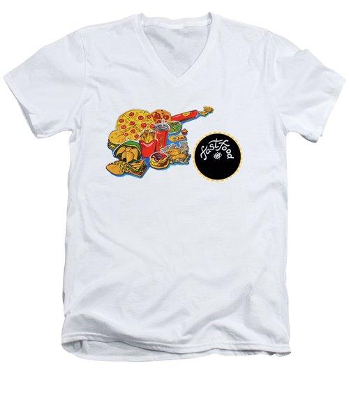 Kitchen Illustration Of Menu Of Fast Food  Men's V-Neck T-Shirt