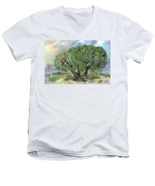 Men's V-Neck T-Shirt featuring the painting Kite Eating Tree by Annette Berglund