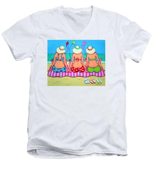 Kite Flying 101 - Girlfriends On Beach Men's V-Neck T-Shirt by Rebecca Korpita