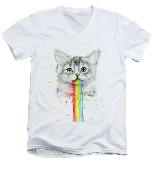 Kitten Puking Rainbows Men's V-Neck T-Shirt
