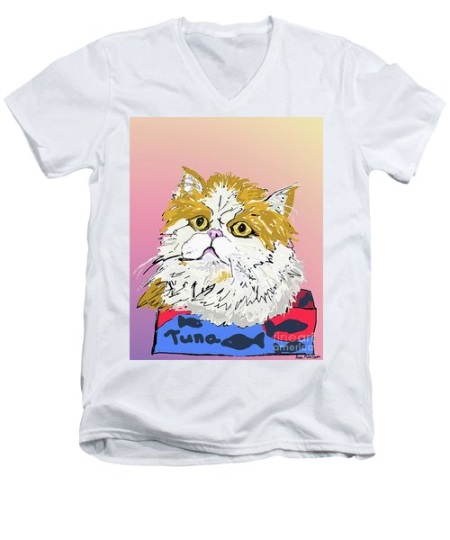 Kitty In Tuna Can Men's V-Neck T-Shirt by Ania M Milo
