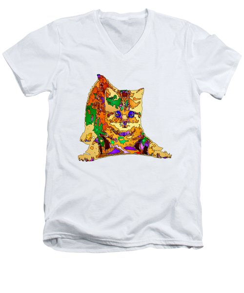 Kitty Love. Pet Series Men's V-Neck T-Shirt