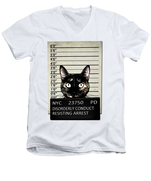 Kitty Mugshot Men's V-Neck T-Shirt by Nicklas Gustafsson
