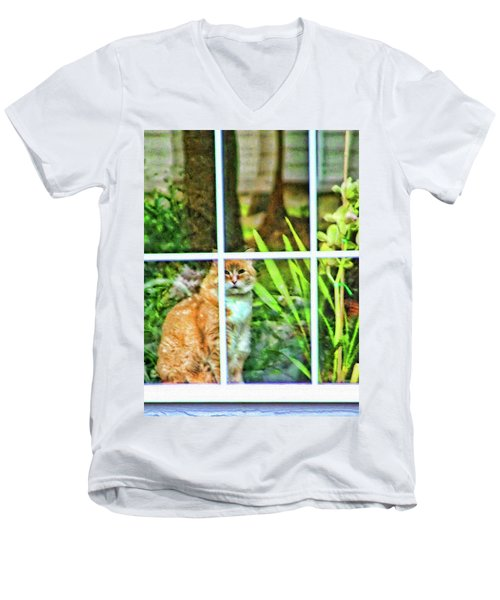 Men's V-Neck T-Shirt featuring the photograph Kitty Reflections by Wendy McKennon