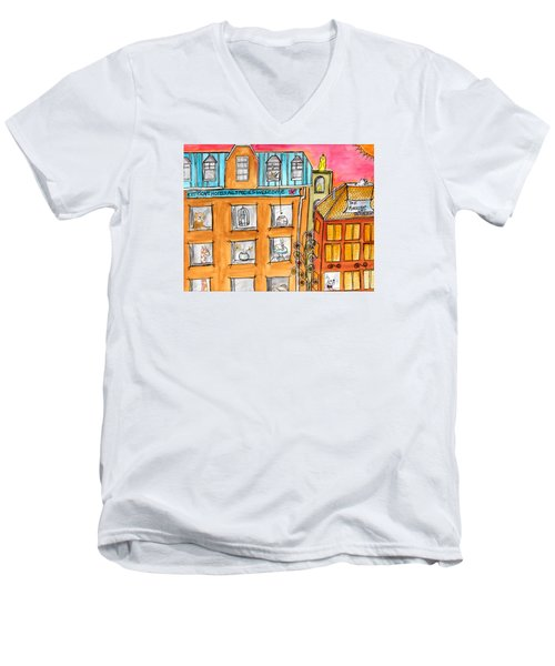 Kittyscape Hotel Men's V-Neck T-Shirt