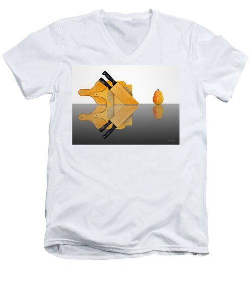 Knife Block, Cutting Boards And Pear Men's V-Neck T-Shirt by Joe Bonita