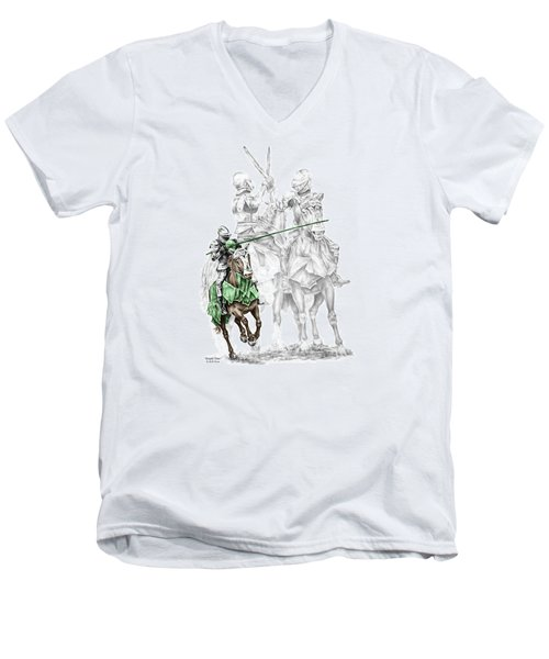 Men's V-Neck T-Shirt featuring the drawing Knight Time - Renaissance Medieval Print Color Tinted by Kelli Swan
